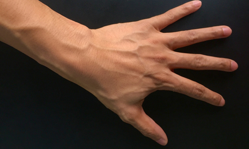 Close up of the veins in a man's hand